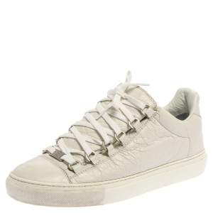 Balenciaga White Crinkle Leather Arena Low Top Sneakers Size 40