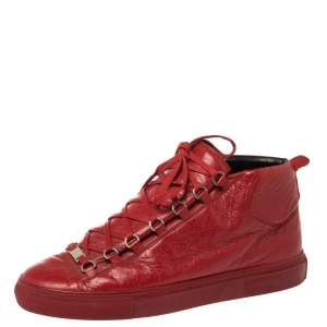 Balenciaga Red Leather Arena High-Top Sneakers Size 43