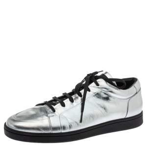 Balenciaga Metallic Silver Leather Urban Low Top Sneakers Size 45