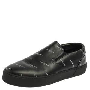 Balenciaga Black Logo Print Leather Slip On Sneakers Size 45