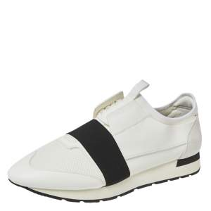 Balenciaga White Mesh And Leather Race Runner Low Top Sneakers Size 46