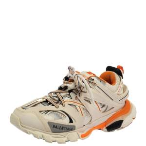 Balenciaga White/Orange Leather And Mesh Track Sneakers Size 40