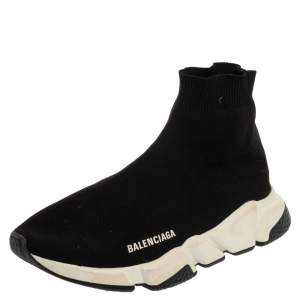 Balenciaga Black Knit Fabric Speed Runner Sneaker Size 40
