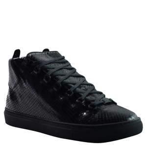 Balenciaga Black Python Leather Arena Sneakers Size 42
