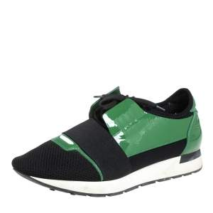 Balenciaga Black/Green Mesh And Patent Leather Race Runner Lace Up Sneakers Size 42