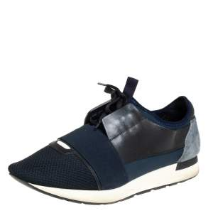 Balenciaga Multicolor Mesh Leather And Suede  Race Runner Sneaker Size 43