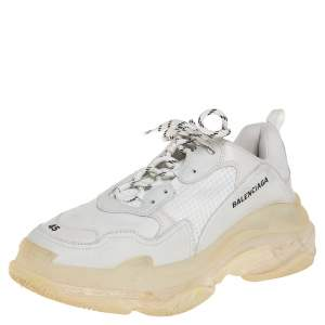 Balenciaga Grey/White Mesh Leather And Suede Lace Up Triple S Sneaker Size 45
