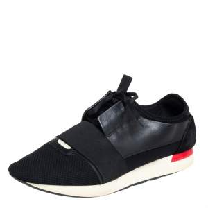Balenciaga Black Suede And Leather Race Runner Sneakers Size 43