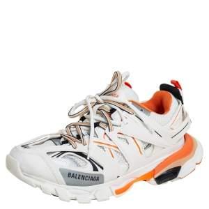 Balenciaga White /Orange Leather And Mesh Track Sneakers Size 41