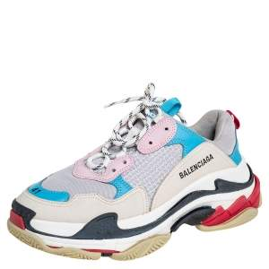 Balenciaga Multicolor Mesh And Leather Triple S Low Top Sneakers Size 41