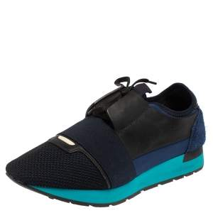 Balenciaga Blue/Black Mesh And Leather Race Runner Low Top Sneakers Size 42