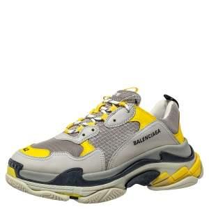 حذاء رياضي بالنسياغا تريبل إس ترينر شبكة وجلد ونوبوك رصاصي/أصفر مقاس 42