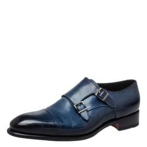 Santoni Blue Leather Double Buckle Derby Monk Size 46