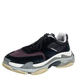 حذاء رياضى بالينسياغا تريبل إس سويدى ونايلون كستنائي وأسود منخفض من أعلى مقاس 45