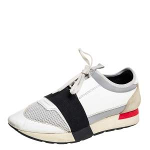 Balenciaga Multicolor Mesh And Leather Race Runner Sneakers Size 40