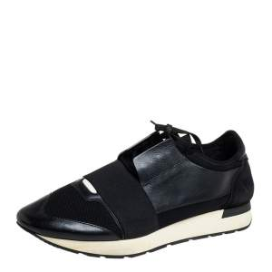 Balenciaga Black Mesh, Suede And Leather Race Runner Sneakers Size 45