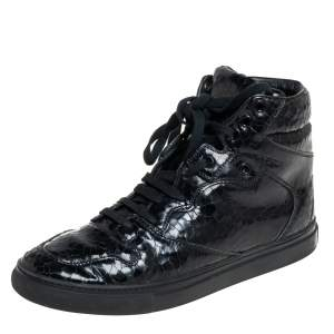 Balenciaga Black  Leather High Top Sneakers Size 39