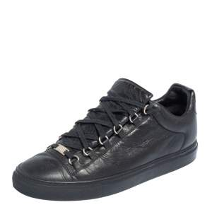 Balenciaga Black Leather Arena Low Top Sneakers Size 44