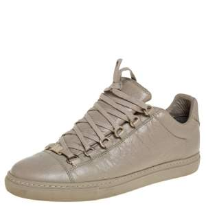 Balenciaga Beige Leather Arena Low Top Sneakers Size 40