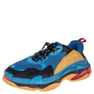 Balenciaga Multicolor Leather and Mesh Triple S Sneaker Size 45