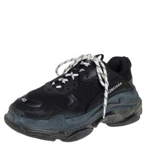 Balenciaga Black Leather and Mesh Triple S Sneakers Size 40