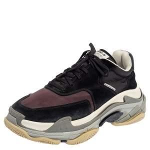 Balenciaga Burgundy/Black Nylon And Suede Triple S Sneakers Size 41