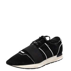 Balenciaga Black/White Suede And Leather Race Runner Sneaker Size 43
