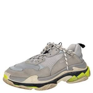 Balenciaga Grey Mesh And Nubuck Leather Triple S Sneakers Size 45