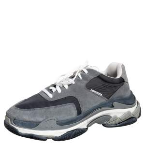 حذاء رياضي بالنسياغا تريبل إس عنق منخفض جلد ونايلون وسويدي رصاصي/أسود مقاس 44