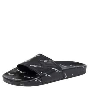 Balenciaga Black Logo Stamped Leather Slide Sandals Size 39