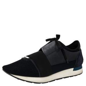 Balenciaga Black Suede, Mesh And Leather Race Runner Sneakers Size 43