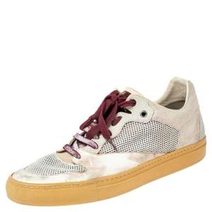 Balenciaga White Mesh, Leather and Suede Low Top Sneakers Size 42