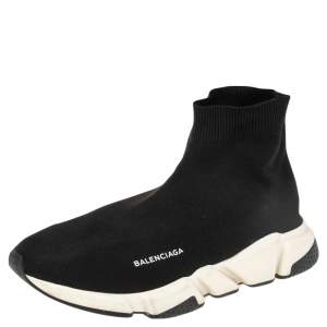 Balenciaga Black Knit Fabric Speed Trainer High Top Sneakers Size 44