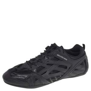 Balenciaga Black Leather And Mesh Drive Sneakers Size 43