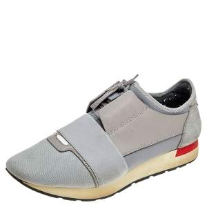 Balenciaga Grey Knit Fabric, Suede, And Leather Race Runner Low Top Sneakers Size 42