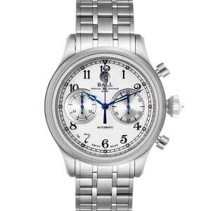 Ball Silver Stainless Steel Trainmaster Cannonball Chronograph CM1052D Men's Wristwatch 43 MM