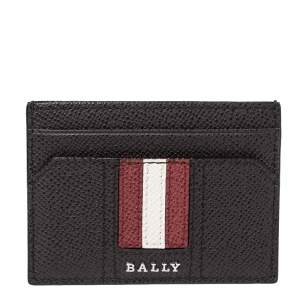 Bally Brown Grained Leather Card Holder