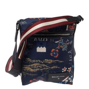 Bally Blue Tropical Print Nylon Small Messenger Bag