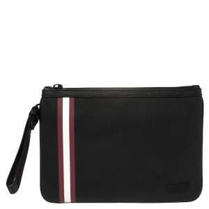 Bally Black Leather Bex Wristlet Clutch