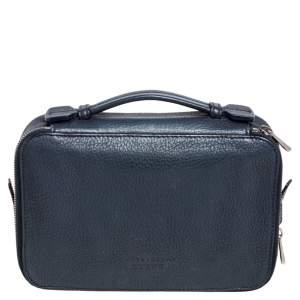 Bally Blue Leather Double Zip Travel Organizer