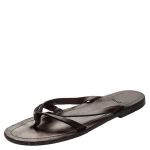 Bally Brown Leather Thong Flat Sandals Size 43