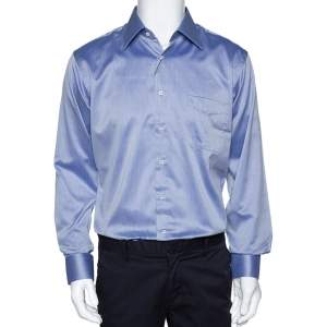 Balmain Lilac Cotton Button Front Long Sleeve Shirt M