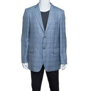 Balmain Blue Checkered Wool and Linen Slim Fit Soft Shoulder Blazer XXL