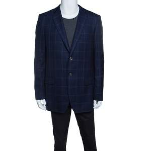 Balmain Super 120s Navy Blue Checkered Slim Fit Blazer XXL
