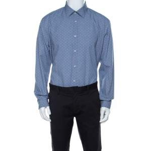 Balmain Blue Square Patterm Cotton Shirt XL