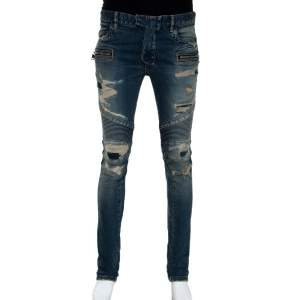 Balmain Blue Washed Out & Distressed Denim Biker Jeans S