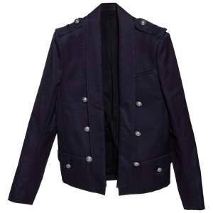 Balmain Midnight Blue Cotton Canvas Raw Edged Detail Blazer M