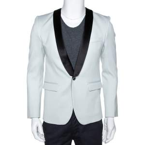 Balmain Pale Blue Wool Contrast Shawl Lapel Tuxedo Jacket M