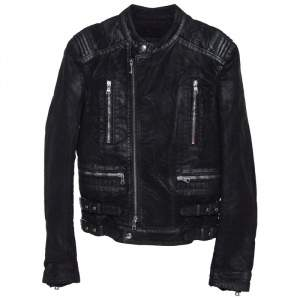 Balmain Black Coated Cotton Zip Front Biker Jacket S