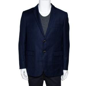 Balmain Super 120s Navy Blue Checkered Wool Slim Fit Blazer XL